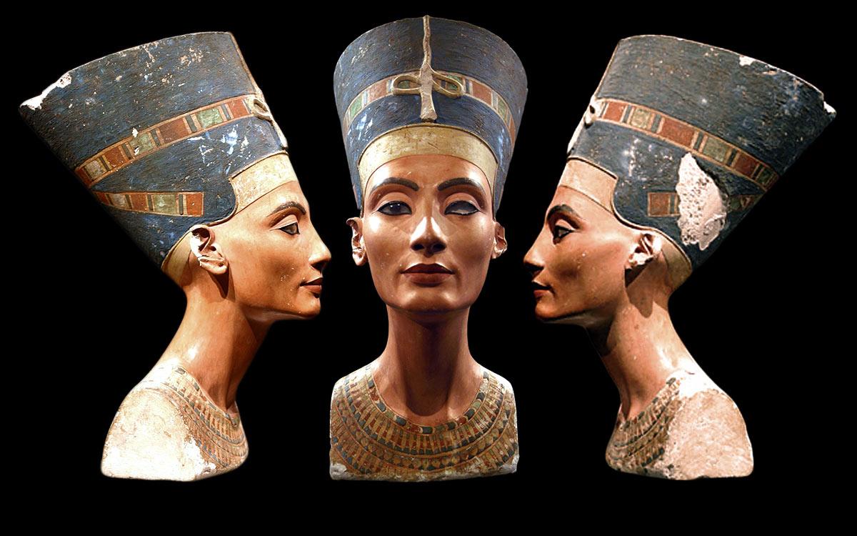 3 vues de Nefertiti
