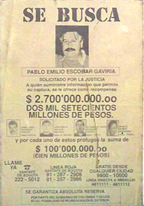 Avis de recherche de Pablo Escobar