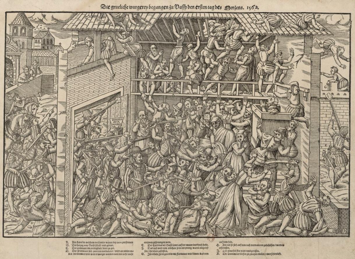 Massacre de vassy le 1er mars 1562 - Gravure de Tortorel et Perissin-1570