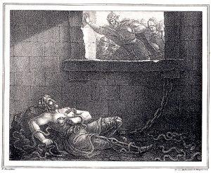 Mort de Ragnar Lodbroks gravure de Hugo Hamilton