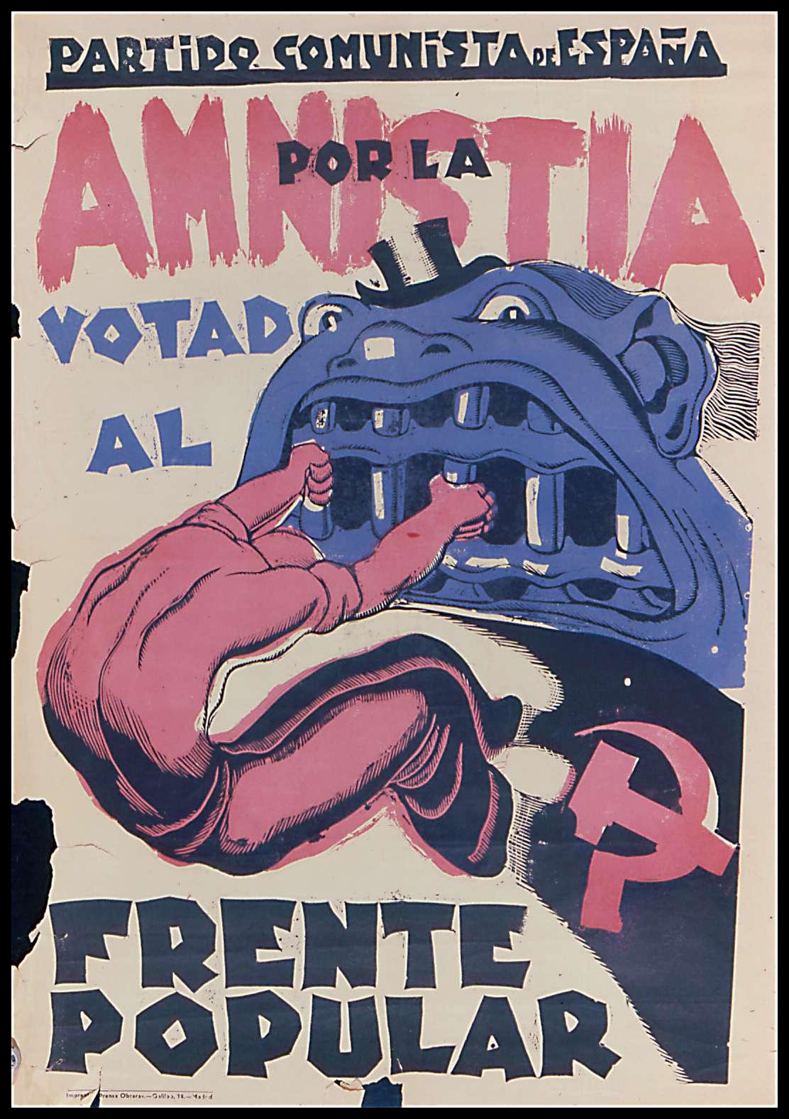 Affiche du parti communiste appelant à voter pour le front populaire en 1936