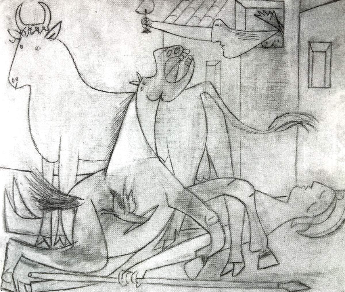 Etude n°6 pour Guernica - 1er mai 1937