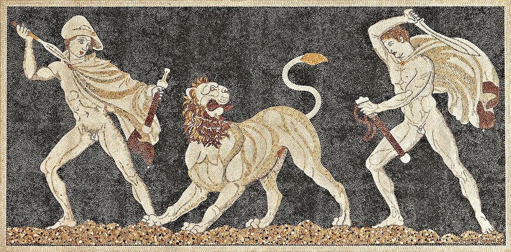 Alexandre et Hephaistion chassant le lion