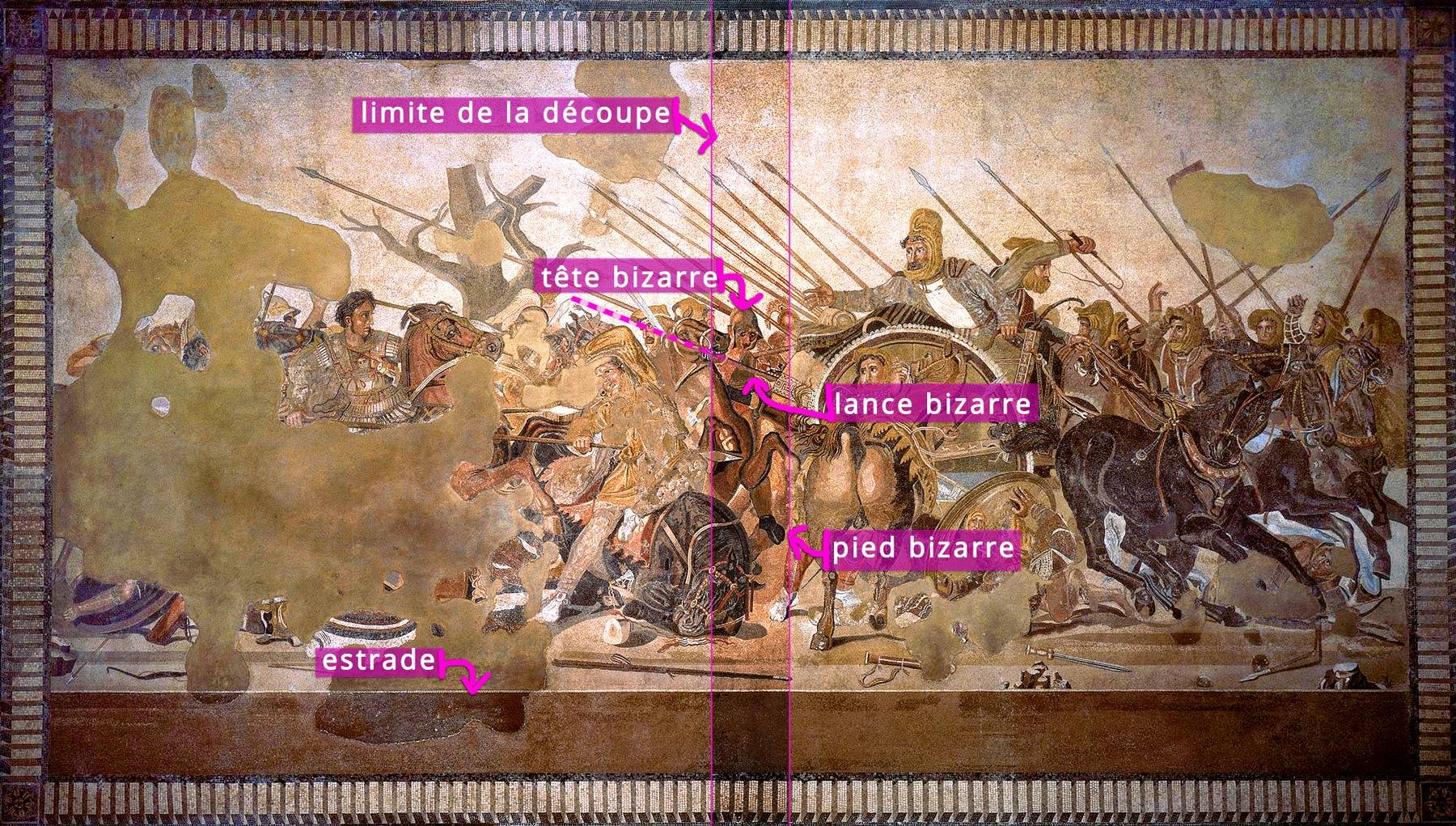 La Mosaïqued'Alexandre anotée - incongruités
