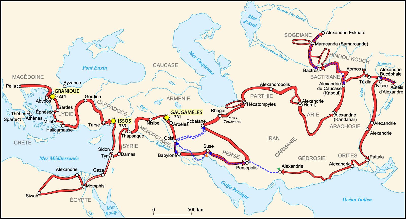 itinéraire d'alexandre