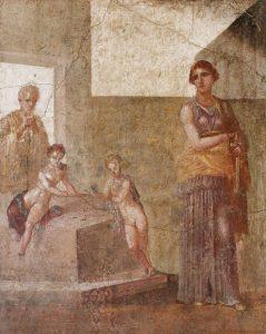 Médée s'apprêtant à tuer ses enfants- Fresque de Pompéi - Maison des Dioscures