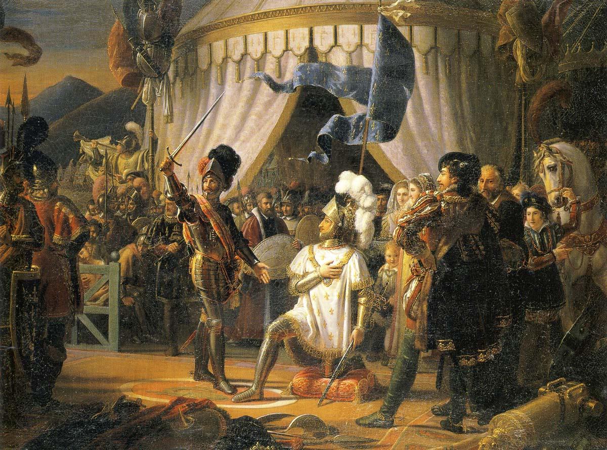 François 1er armé chevalier par Bayard, Louis Ducis 1817