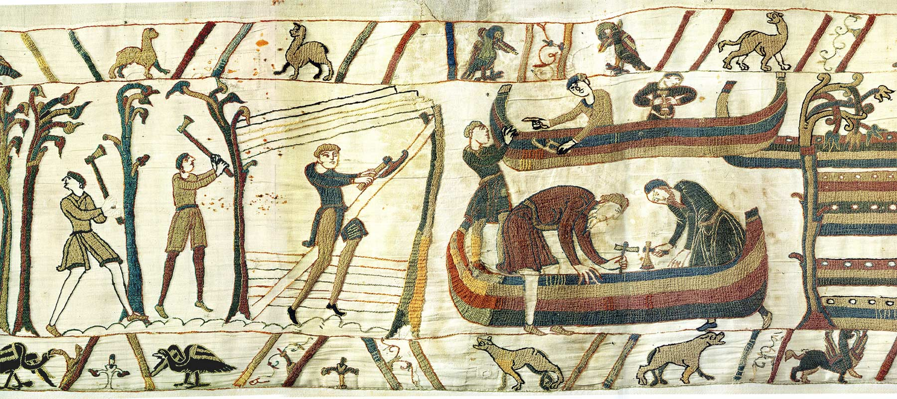 11-Tapisserie de Bayeux - Préparation au départ
