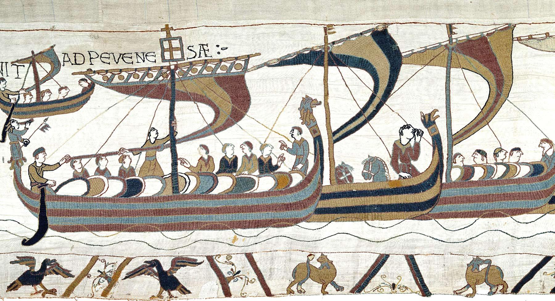 12 - Tapisserie de Bayeux - La flotte traverse la manche