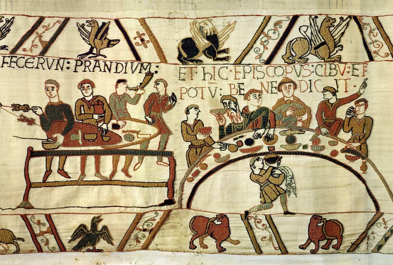 13 - Tapisserie de Bayeux - Repas après installation du camp à Hastings