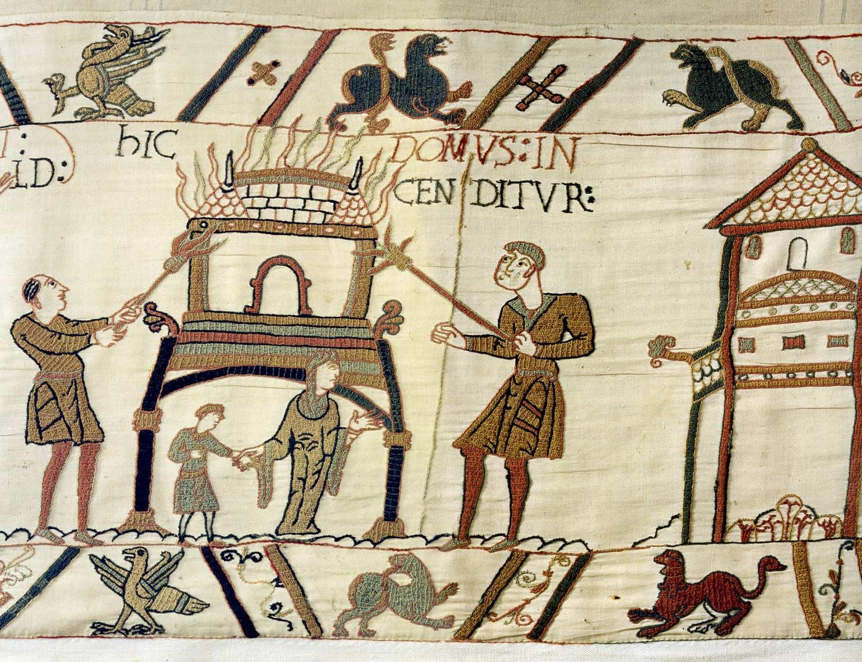 14 - Tapisserie de Bayeux - Dévastation de la campagne anglaise par les troupes normandes
