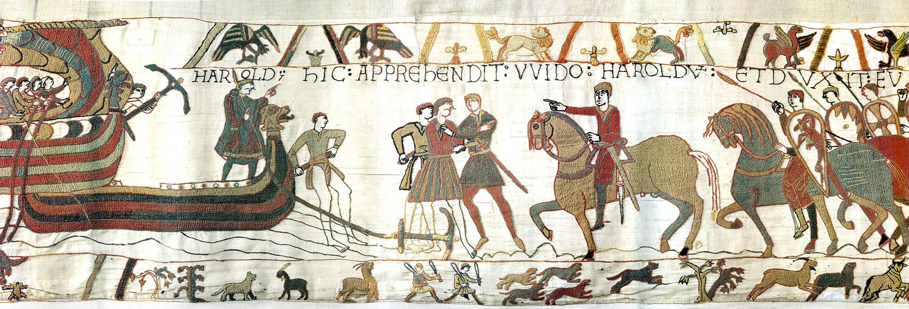 Tapisserie de Bayeux - Harold est emprisonné par Guy