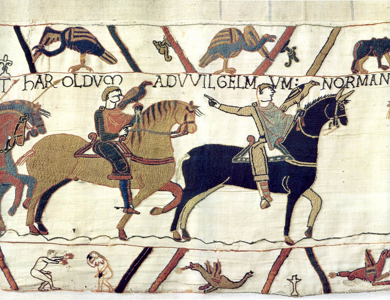 4-Tapisserie de Bayeux - Harold et guillaume le conquerant chassent