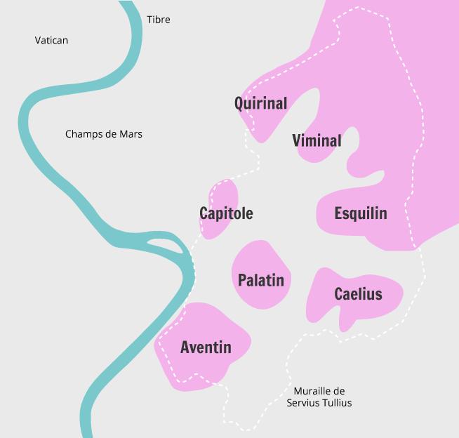 Carte des sept collines de Rome