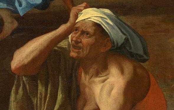 Nicolas Poussin - L'enlèvement des Sabines - Vieille femme